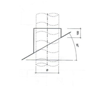 Dakdoorvoer plat dak 30° Ø 200mm type DD