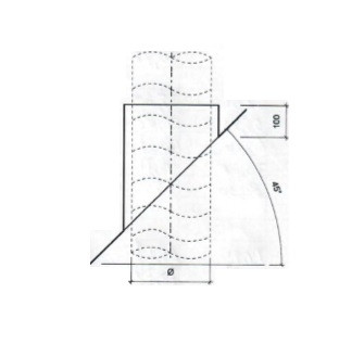 Dakdoorvoer plat dak 45° Ø 200mm type DD