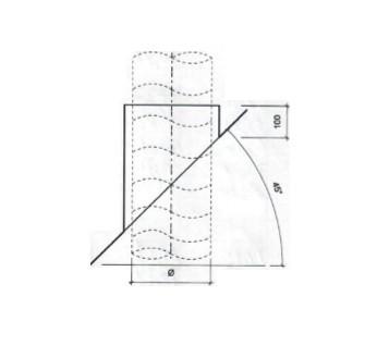 Dakdoorvoer plat dak 45° Ø 250mm type DD