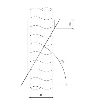 Dakdoorvoer plat dak 60° Ø 125mm type DD