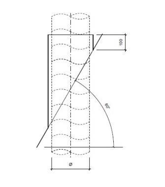 Dakdoorvoer plat dak 60° Ø 160mm type DD