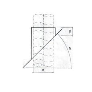 Dakdoorvoer plat dak 45° Ø 150mm type DD