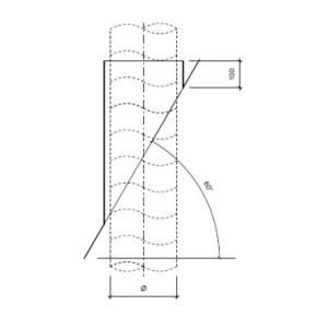 Dakdoorvoer plat dak 60° Ø 150mm type DD