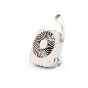Design ventilator met USB-aansluiting - oplaadbaar - wit//créme - met lus