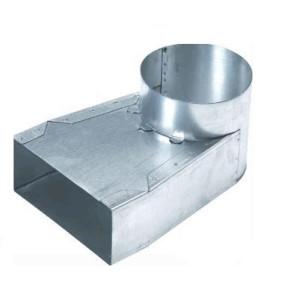 Lepelhoek enkel symmetrisch 170mm x 70mm aansluiting Ø125mm (Rechthoekig)
