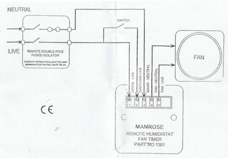 Schakelschema van afstandsbediening schakelaar met vochtsensor